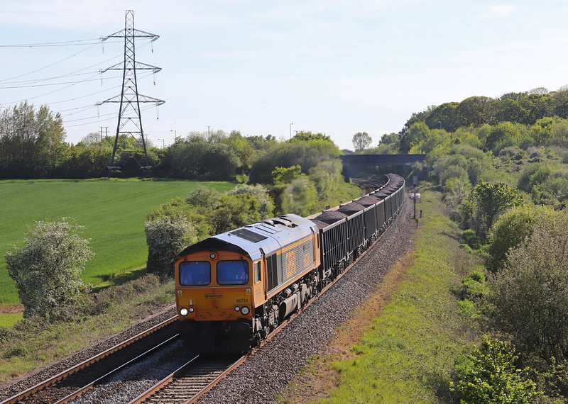 66724, 16.43 Whatley Quarry-Wellingborough, Berkley Marsh, near Frome, 14-5-19.