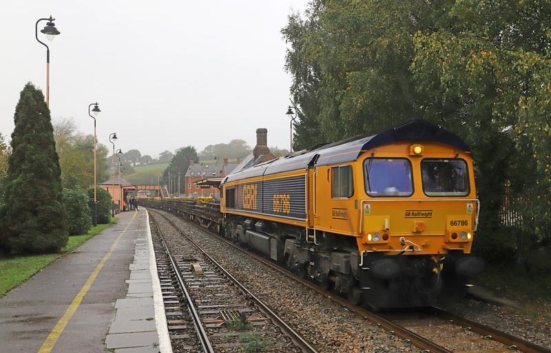 66786, 13.50 Crediton-Westbury, Crediton Station, 3-11-19. 70min late.