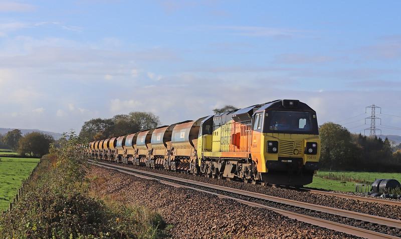 70810/70813, 09.10 Crediton-Westbury, Pugham Crossing, near Burlescombe, 4-11-19. 70813 dead.