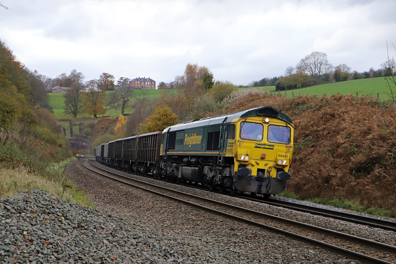 66601, 13.44 Exeter Riverside Yard-Whatley Quarry, Marlands, near Wellington, 20-11-19. Freightliner now working trains out of the Mendips quarries.
