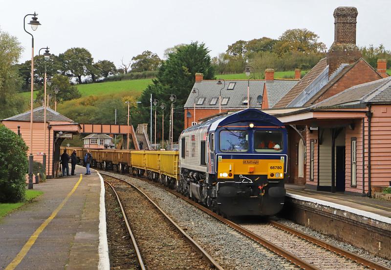 66780, 13.09 Crediton-Westbury, Crediton Station, 3-11-19. 85min late.