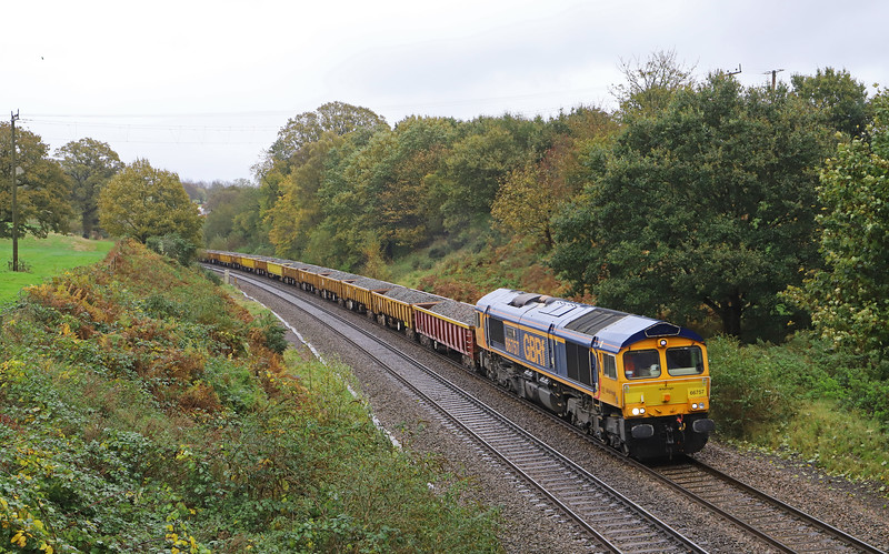 66757/66781, 09.21 Westbury-Crediton, via Bristol Temple Meads, Whiteball, 2-11-19.
