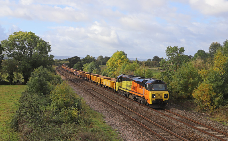 70810/70807, 08.30 Crediton-Westbury Yard, Cogload Junction, near Taunton, 6-10-19.