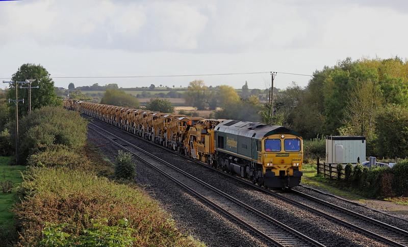 66533/66588, 08.16 Woodborough (Wilts)-Taunton Fairwater Yard, Cogload Junction, near Taunton, 6-10-19. 40min early.