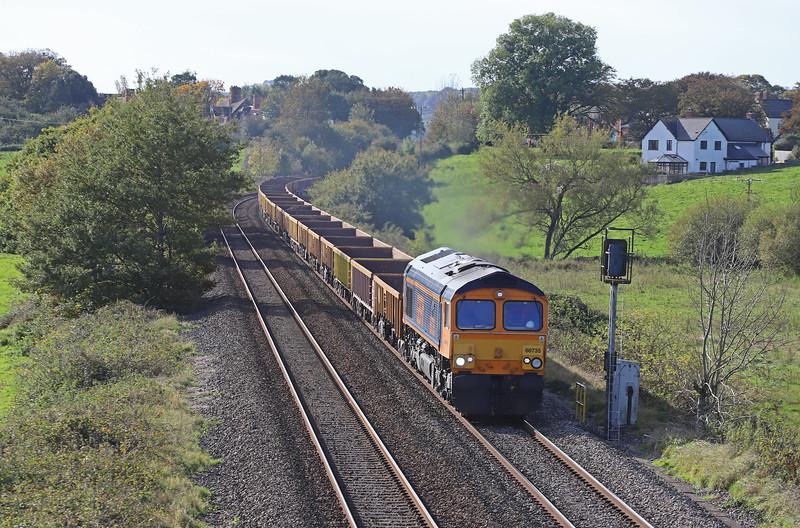 66735, 11.50 Crediton-Westbury, via run-round in Exeter Riverside Yard, Rewe, near Exeter, 27-10-19.