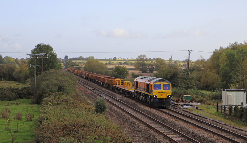 66413, 10.35 Cogload Junction-Westbury Yard, from Berks and Hants line worksite, Cogload Junction, near Taunton, 6-10-19. 75min early.