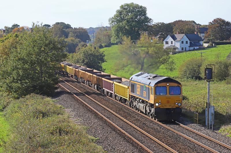 66741, 10.43 Crediton-Westbury, via run-round in Exeter Riverside Yard, Rewe, near Exeter, 27-10-19.