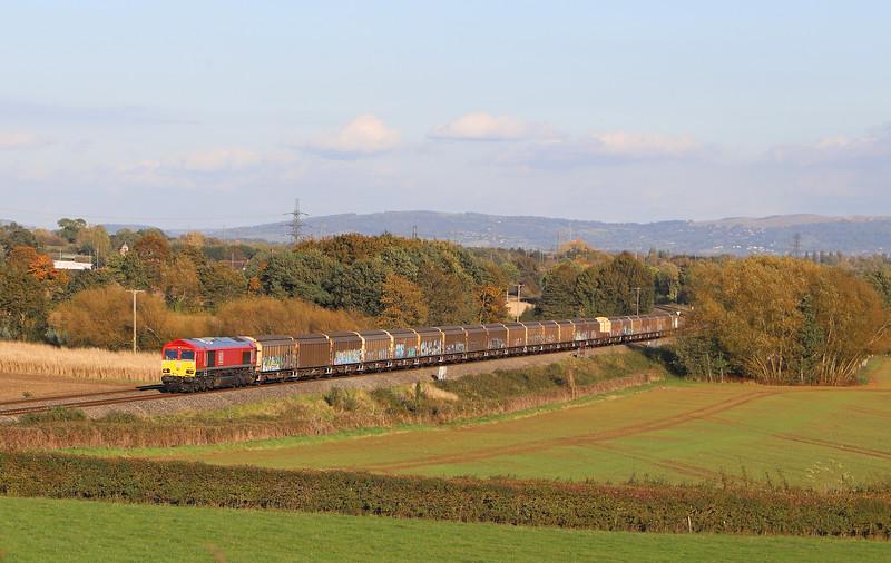 66107, 13.05 Burton-on-Trent-Cardiff Tidal Yard, Minsterworth, near Gloucester, 22-10-19.