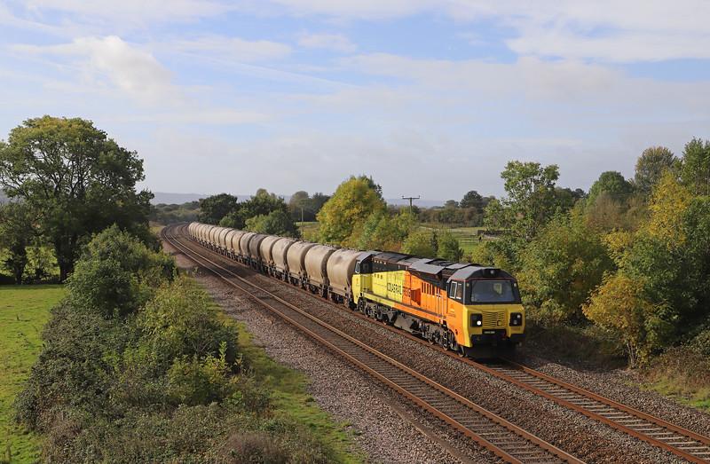 70808, 06.25 Moorswater-Aberthaw Cement Works, Cogload Junction, near Taunton, 10-10-19..
