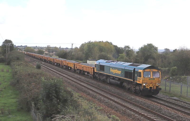66544/66956, 09.30 Cogload Junction-Westbury Yard, from worksite on the Bristol line, Cogload Junction, near Taunton, 6-10-19. 75min late.