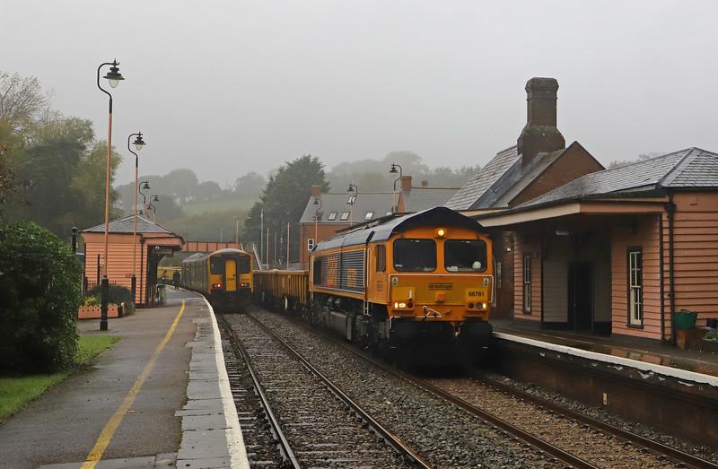 66781, 12.48 Crediton-Westbury, Crediton Station, 31-10-19. 68min late.<br /> 150249,12.53 Exmouth-Crediton.