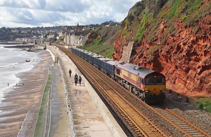 66121, 10.29 Burngullow-Exeter Riverside Yard, Dawlish, 15-10-19. Voyager, 06.45 Newcastle-Plymouth.