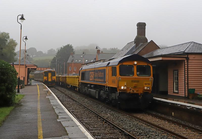 66782, 12.00 Crediton-Westbury, Crediton Station, 31-10-19. 50min late.