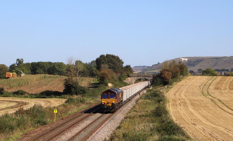 66164, 12.25 Avonmouth Hanson's Sidings-Whatley Quarry, Fairwood, near Westbury, 18-9-19.