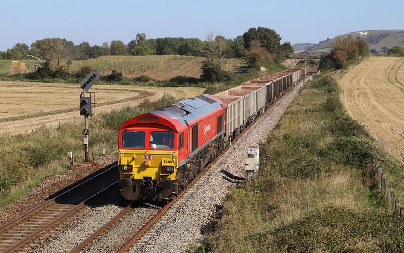 59204, 11.55 Fareham ARC Sidings-Whatley Quarry, Fairwood, near Westbury, 18-9-19.