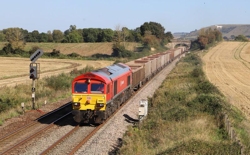59201, 11.45 Oxford Banbury Road Sidings-Whatley Quarry, Fairwood, near Westbury, 18-9-19.