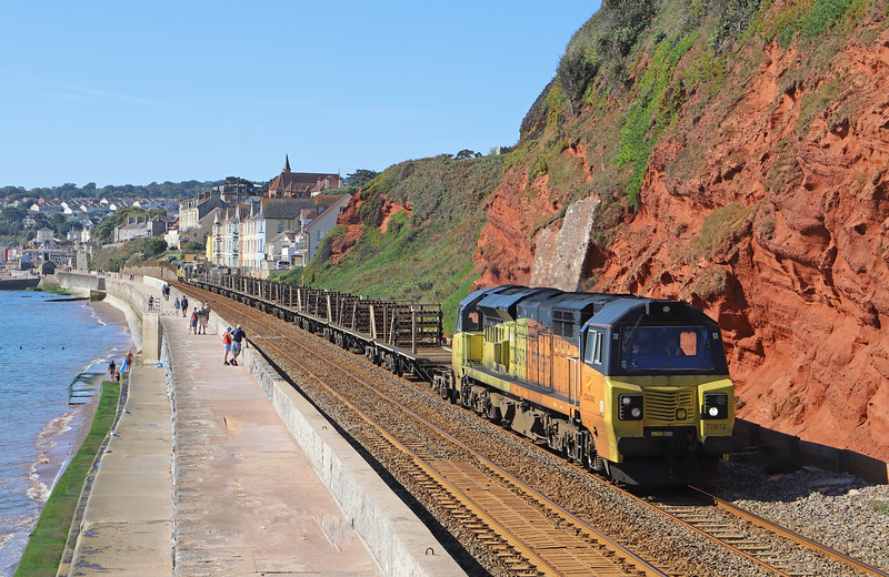 70812/70808, top-and-tail 08.50 Burngullow Junction (St Austell)-Westbury Yard, Dawlish, 15-9-19.
