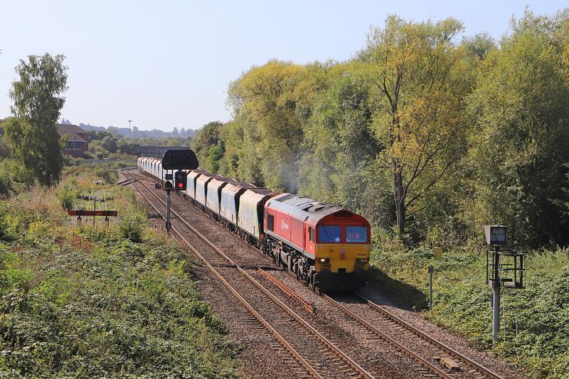 59206, 11.23 Merehead Quarry-Wootton Bassett, Hawkeridge Junction, Westbury, 18-9-19.