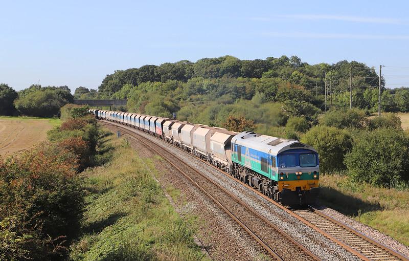 59001, 10.28 Merehead Quarry-Colnbrook, Berkley Lane, Berkley, near Frome, 18-9-19.