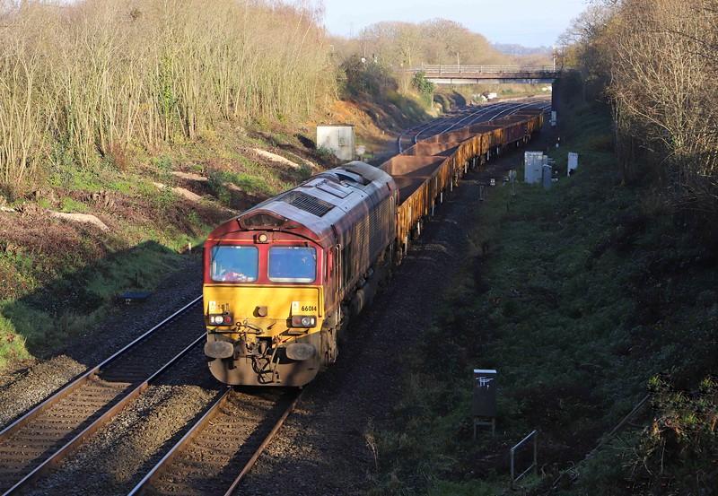 66014, 09.25 Westbury-Penzance Long Rock, departing Tiverton down loop, Willand, near Tiverton, 6-12-20.