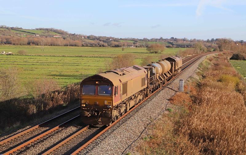 66151/66155, topping and tailing 08.50 Westbury-St Blazey, via Salisbury and Westbury, Wick, near Langport, 1-12-20.