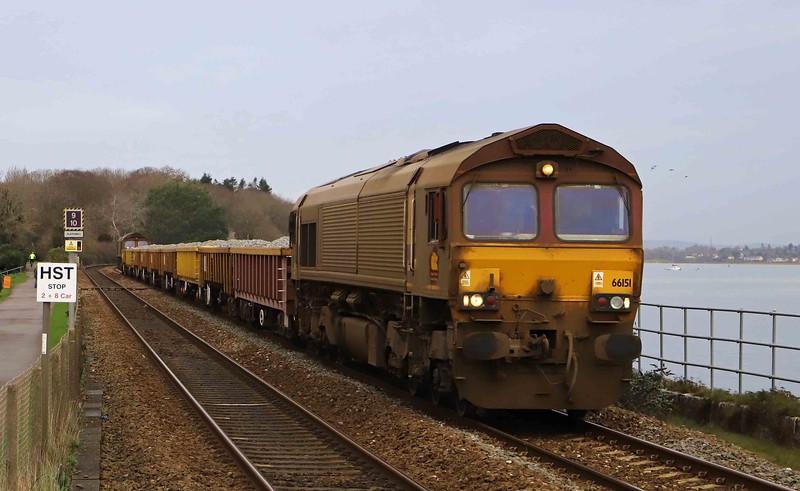 66151/66155, top-and-tail 11.15 Westbury-Truro, Starcross, 9-12-20.