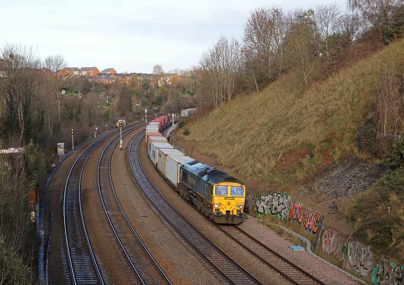 66566, 10.00 Cardiff Wentloog-Felixstowe North Container Terminal, Narroways Hill Junction, Bristol, 17-12-20.