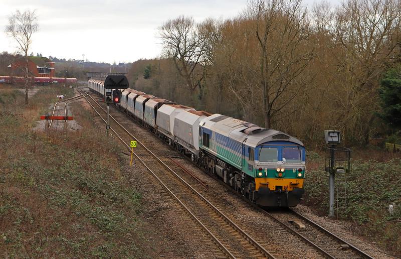 59005, 11.23 Merehead Quarry-Wootton Bassett, Hawkeridge Junction, Westbury, 10-1-20.