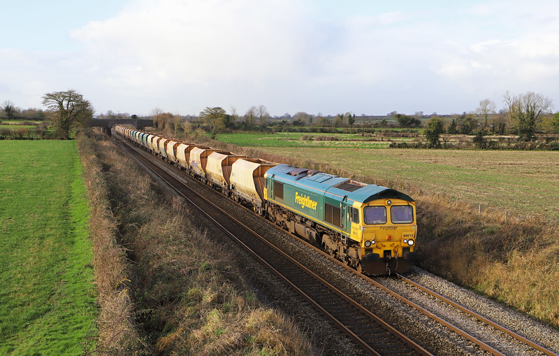 66613, 03.03 Port Talbot Grange Siding-Hayes and Harlington Tarmac Siding, Edington, near Westbury, 15-1-20. Missed Bathampton pathing stop and held at Heywood Road Junction, Westbury, for 2.5hr.