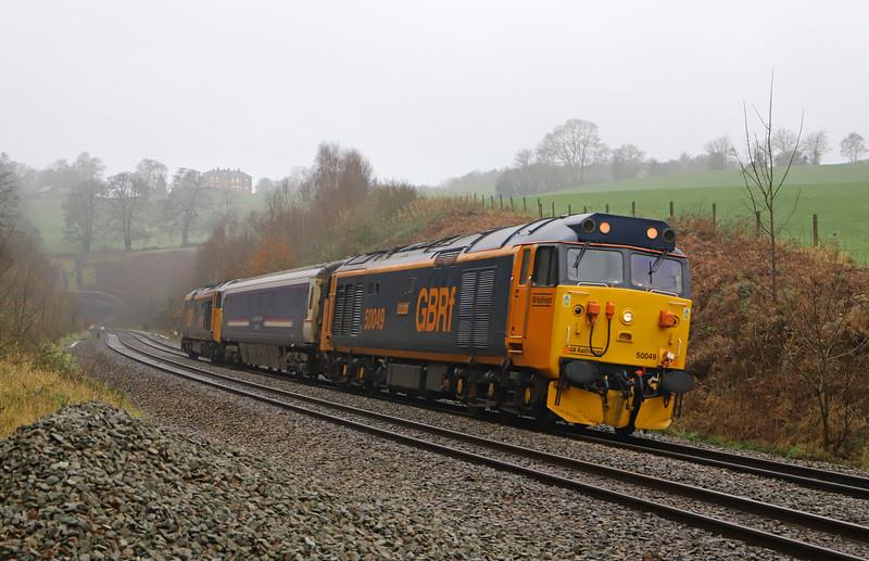 500049/50007 (aka 50014), 09.00 Plymouth Laira T&RSMD-Long Marston (Warwickshire), Marlands, near Wellington, 23-1-20.