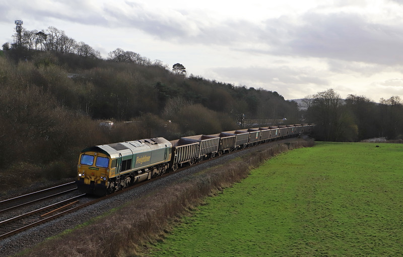 66610, 15.42 Exeter Riverside Yard-Whatley Quarry, Cullompton, 29-1-20. 45min early.