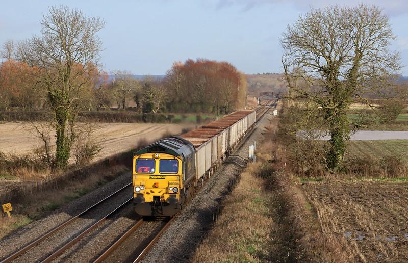 66566, 11.45 Oxford Banbury Road Sidings-Whatley Quarry, Edington, near Westbury, 15-1-20.