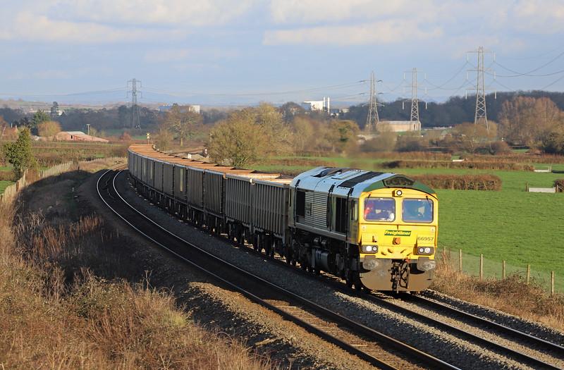 66957, 11.45 Oxford Banbury Road Sidings-Whatley Quarry, Pot Lane, Berkley, near Frome, 10-1-20.