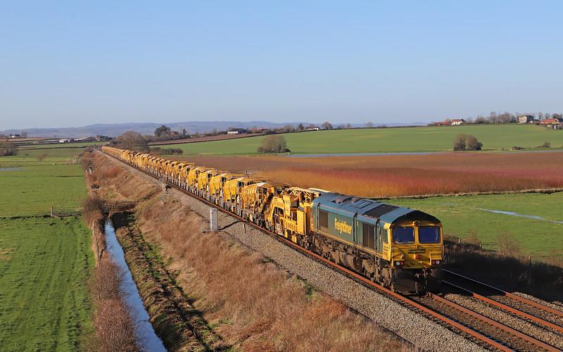 66563/66599, top-and-tail 08.00 Aldermaston-Taunton Fairwater Yard, via Heywood Road Junction (Westbury) and Bathampton down loop reversal, Oath, near Langport, 19-1-20.