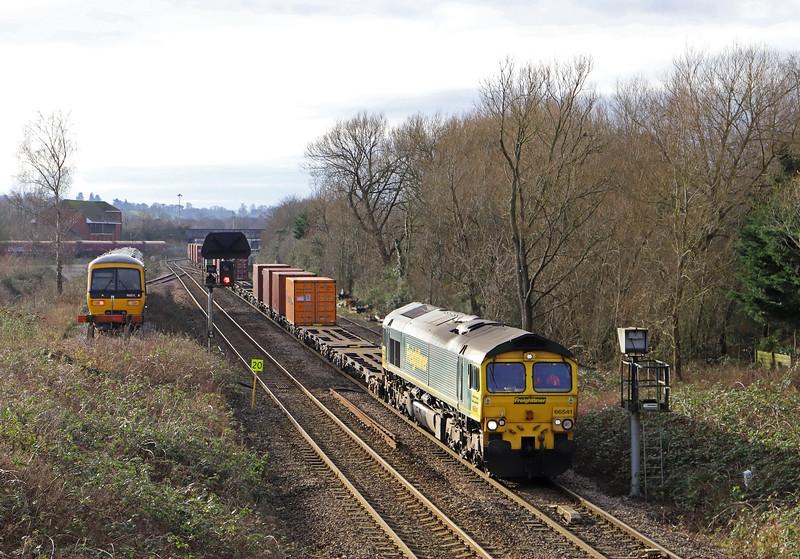66541, 10.14 Southampton MCT-Avonmouth West Wharf, Hawkeridge Junction, Westbury, 10-1-20. 166211 stabled.
