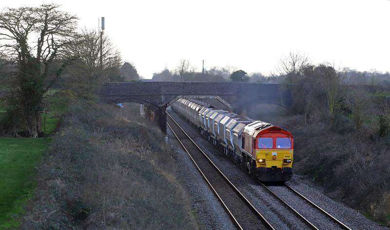 59202, 13.23 Whatley Quarry-Dagenham Dock, Edington, near Westbury, 15-1-20.