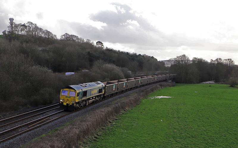 66610, 15.42 Exeter Riverside Yard-Whatley Quarry, Cullompton, 26-2-20.