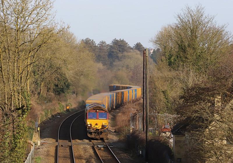 66199, 09.33 Northolt Sidings-Severnside Sita, Avoncliff, near Bradford-on-Avon, 7-2-20.