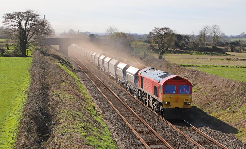 59201, 13.23 Whatley Quarry-Dagenham Dock (load x 44), via Westbury avoider, Edington, near Westbury, 16-3-20.