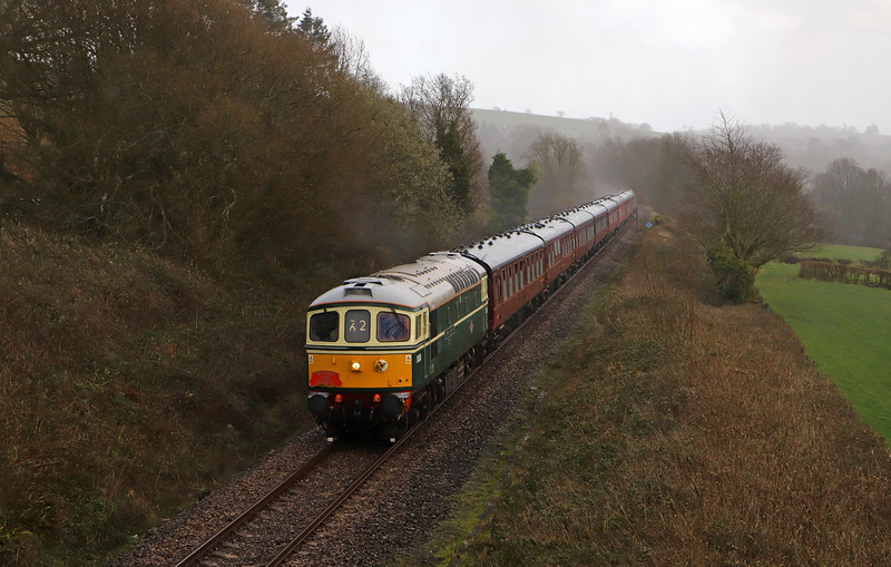 33012/33207, topping-and-tailing 09.38 London Victoria-Coleford (near Crediton), The Devonian Crompton, Wilmington, near Honiton, 8-3-20. Tour run by The Branch Line Society.