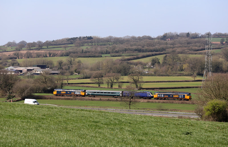 50007/50049, 09.16 Long Marston-Plymouth Laira T&RSMD, Pugham Crossing, near Burlescombe, 23-3-20. Stock move of HST power car 43091.
