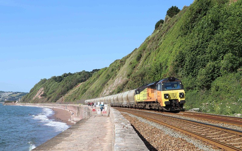 70803, 06.17 Moorswater-Aberthaw Cement Works, Holcombe, Teignmouth, 28-5-20.