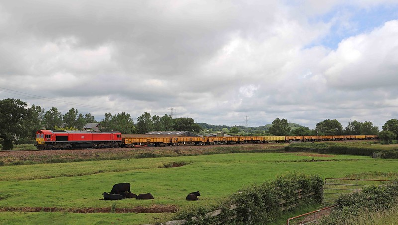 66185/66192, 10.13 Westbury Yard-Lostwithiel, Pugham Crossing, near Burlescombe, 20-6-20.