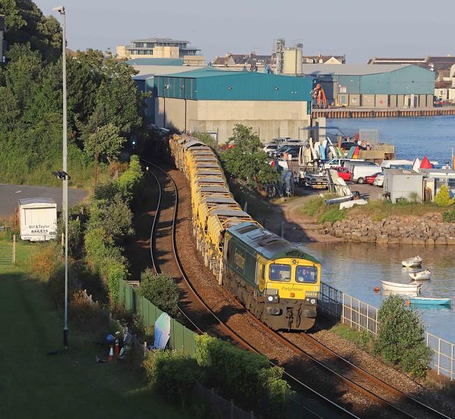 66414/66596, top-and-tail 17.52 Taunton Fairwater Yard-Totnes, Shaldon Bridge, Teignmouth, 24-6-20.