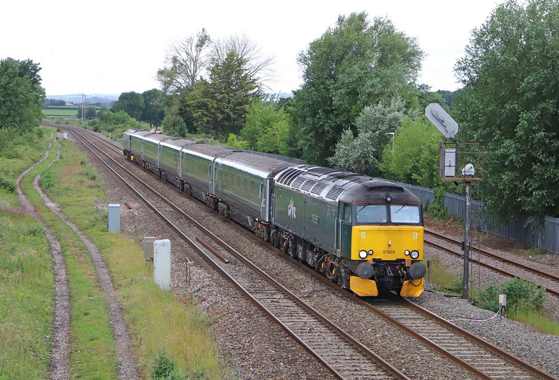 57603/57605, top-and-tail 08.30 Penzance Traction and Maintenance Depot-Reading Traincare Depot, Norton Fitzwarren, near Taunton, 19-6-20.