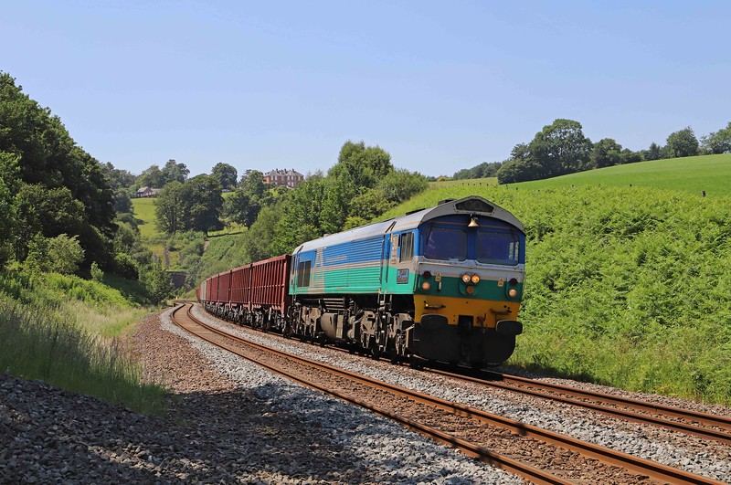 59001, 15.42 Exeter Riverside Yard-Whatley Quarry, Marlands, near Wellington, 24-6-20. Almost 4hr early.