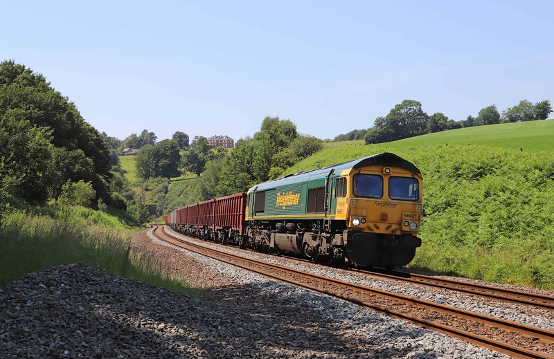 66621, 15.42 Exeter Riverside Yard-Whatley Quarry, Marlands, near Wellington, 25-6-20. 4hr early.