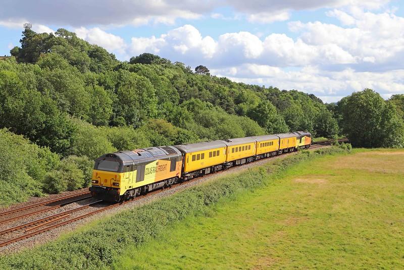 67023/67027, 15.40 Paignton-Taunton test train, Cullompton, 5-6-20.