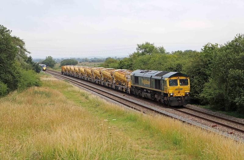 66596, 12.51 Westbury Yard-Taunton Fairwater Yard, via Bristol, Bankland, near Bridgwater, 26-6-20. Diverted because the Berks and Hants line was closed at East Somerset Junction.
