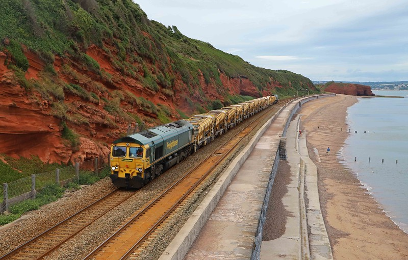 66562/66953,  top-and-tail 17.52 Taunton Fairwater Yard-Totnes, Dawlish, 14-7-20. Wrong line working from Dawlish Warren because of an issue at Teignmouth.